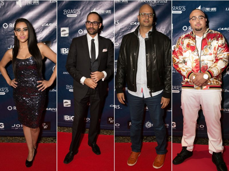 L-R On Red Carpet: DJ Fizza, Mohit Rajhans, Ali Hassan, Deep Jandu